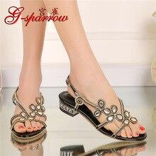 G-Sparrow 2019 Summer New Black Casual Rhinestone Flat High Quality Sandals Women Diamond Large Size Beach Shoes