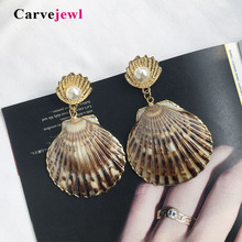 Carvejewl sea shell drop dangle earrings metal simulated pearl for bridal women jewelry new fashion Korean earing