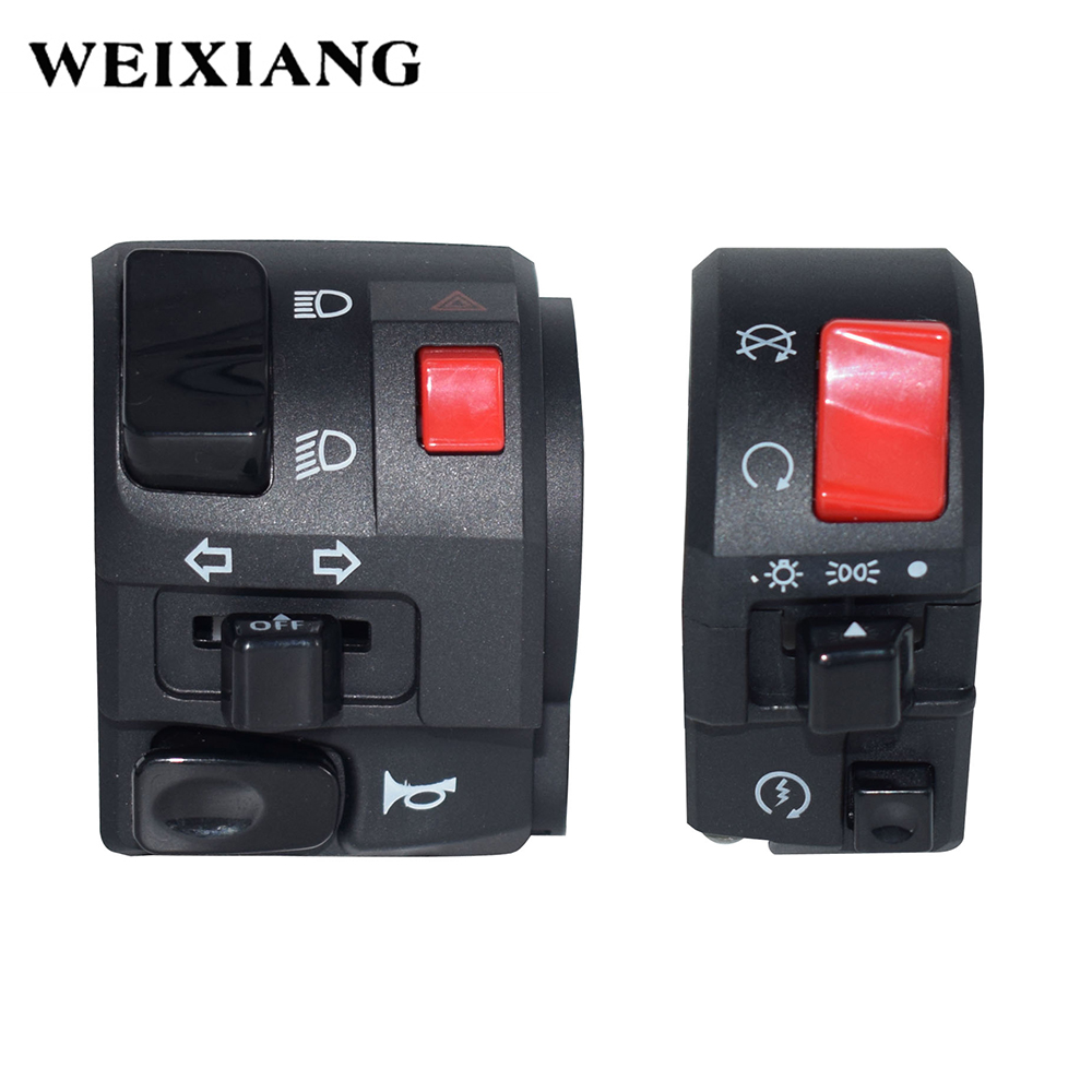 """7/8"""" 22mm Motorcycle Switches Motorbike Horn Button Turn Signal Electric Fog Lamp Light Start Handlebar Controller Switch"""