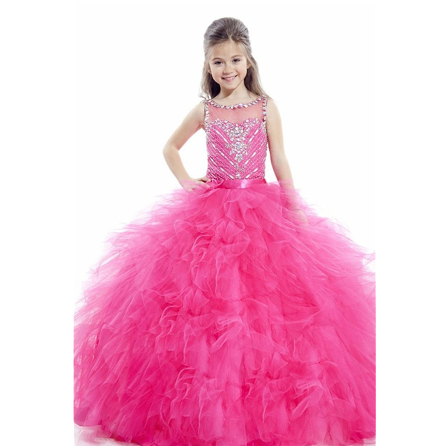 8af7a5ef1e 2015 Exquisite Flower Girl Dresses Beaded and Pleat Girls Pageant Dresses  Vestidos De Festa Vestido Longo Kids Prom Dresses