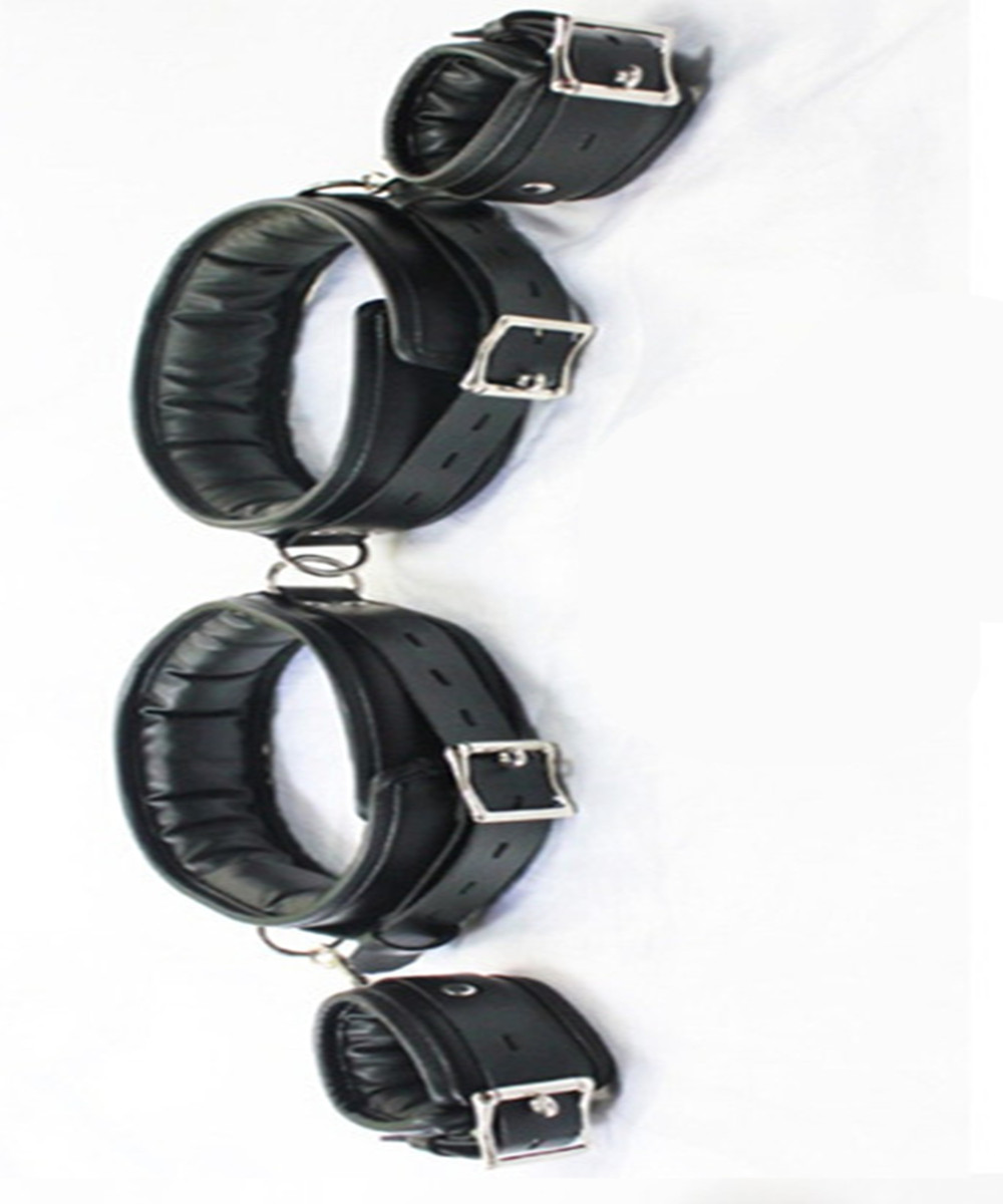 BDSM Leather Legs Hand Wrist Cuffs Lockable Bondage Belt Slave In Adult Games For Couples,Fetish Sex Products Toys Women And Men fetish sex furniture harness making love sex position pal bdsm bondage product erotic toy swing adult games sex toys for couples