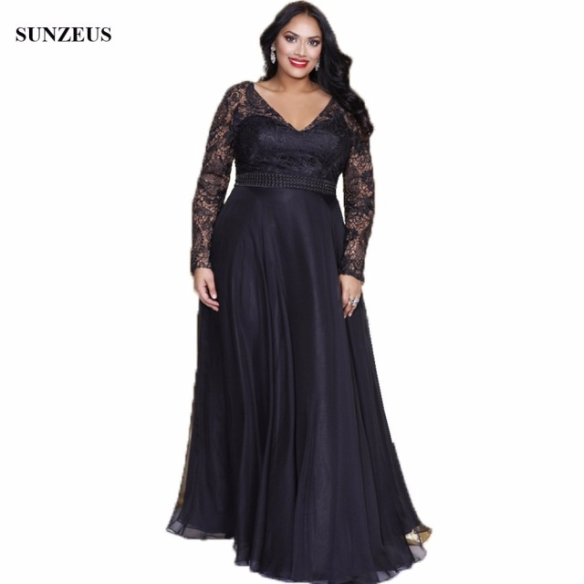 a03555f62c04 Lace Long Sleeve Black Mother Of The Bride Dresses Elegant V-neck Long Chiffon  Women Plus Size Wedding Guest Dress CM016