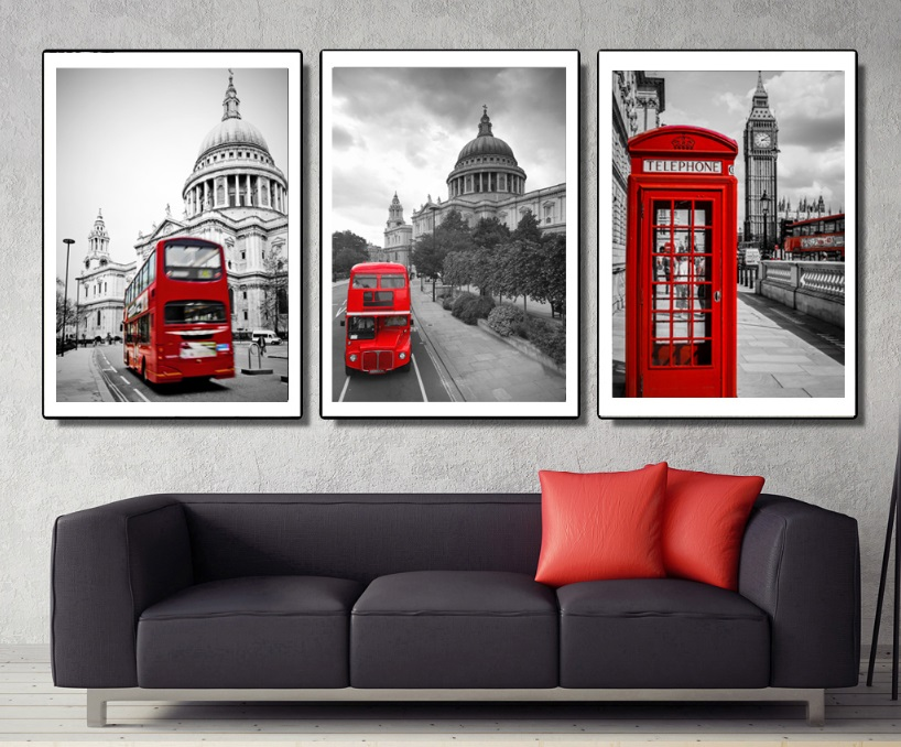 Gohipang Retro Street Scene Red Bus 3 Pieces Decorative Painting Modular Picture Wall Canvas Painting for Living Room No Framed