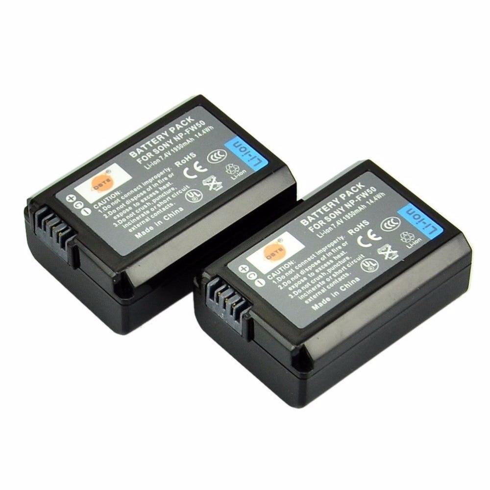 DSTE 2pcs NP-FW50 Battery For Sony NEX-7 NEX-5N NEX-F3 SLT-A37 A7 NEX-5R NEX-6 NEX-3 NEX-3A Alpha 7R II Camera dste 3 6v 1400mah np fc10 fc11 battery for sony fx77 p2 p3 p5 p7 p8 camera