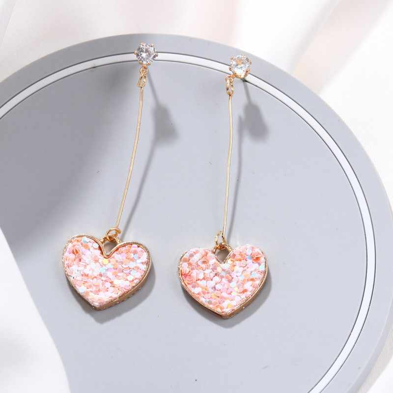 2019 Korean Sweety Lovely Style Drop Earrings Fashion Women Irregular Love Heart Dangle Hook Geometric Drop Earrings Gift