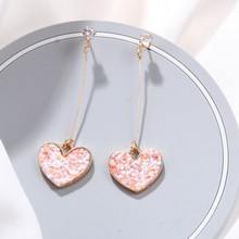 2019 Korean Sweety Lovely Style Drop Earrings Fashion Women Irregular Love Heart Dangle Hook Geometric Gift