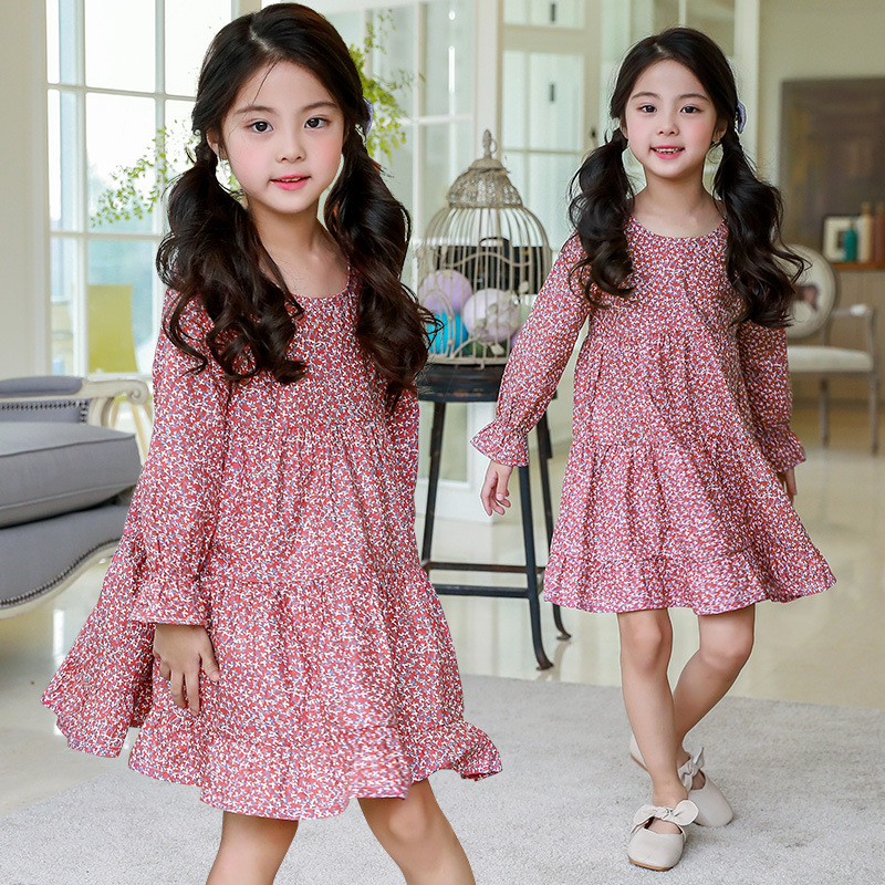 floral school long sleeve princess girls party dress kids clothes for girls spring 2018 autumn little girl ruffles dresses baby floral school long sleeve princess girls