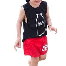 Летний жилет для мальчиков модные хлопковые топы с принтом молока без рукавов для маленьких девочек, футболки