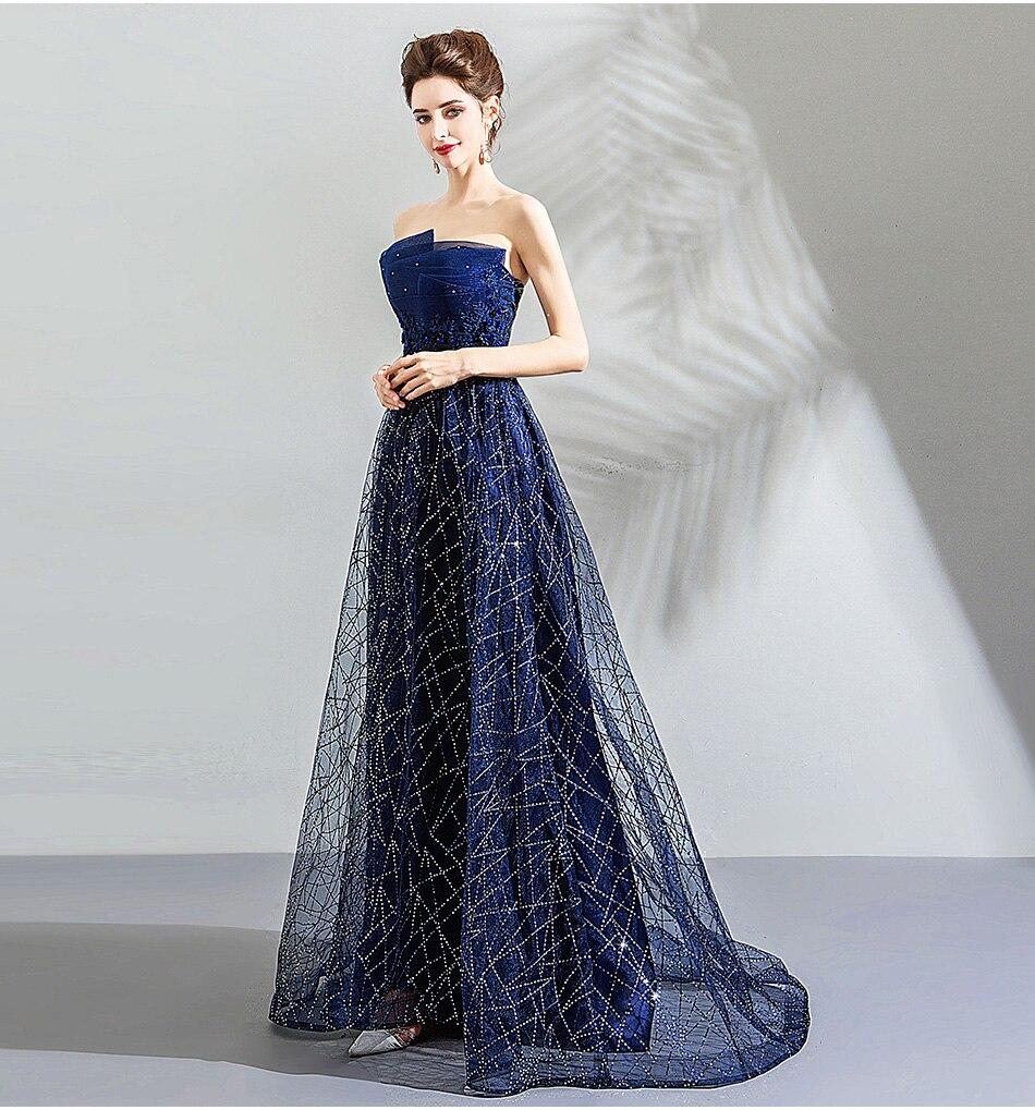 estrelado azul galáxia sentimento azul escuro vestido de baile 139