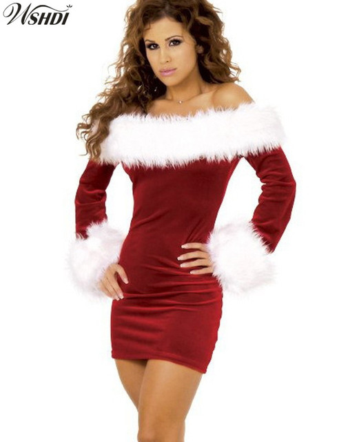 2017 deluxe sexy red velvet christmas costumes miss santa claus costume sweet santa dress plus size