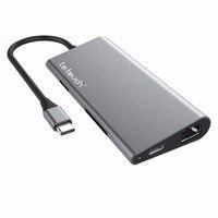 Multi Adaptador de Porta de alumínio do Tipo C/C hub USB para HDMI Macho (4 K)-Tipo C Passar, Ethernet, SD/Micro Leitor de Cartão, e 3 USB