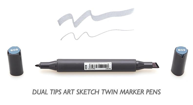 Hallid markerid joonistamiseks – 12 tk komplektis