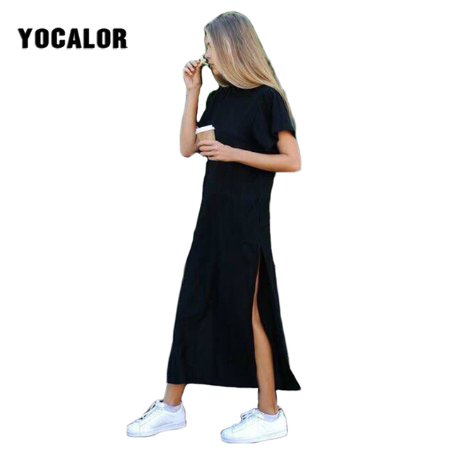 f98c1f4874e Maxi T Shirt Skater Dress Women Summer Sundress Beach Sexy Kim Kardashian  Ukraine Linen Boho Long Black Dresses Big Plus Sizes
