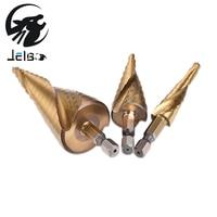Jelbo 3pcs Drill Hex Hss Spiral Grooved Step Drills Bit High Speed Steel Woodworking Drilling Tool
