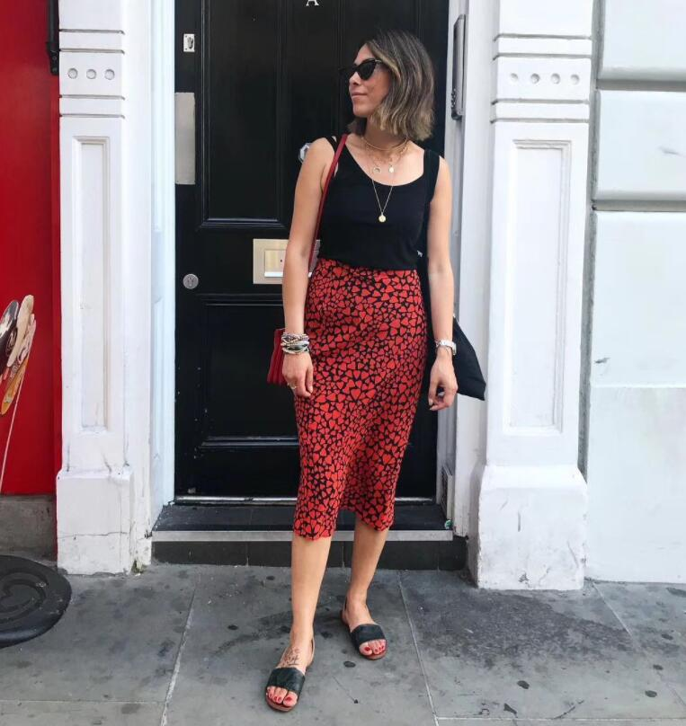 2018SS Blogger Women Vintage THE WILD THING Sid Red Heart Print Silk Satin 3 4 length