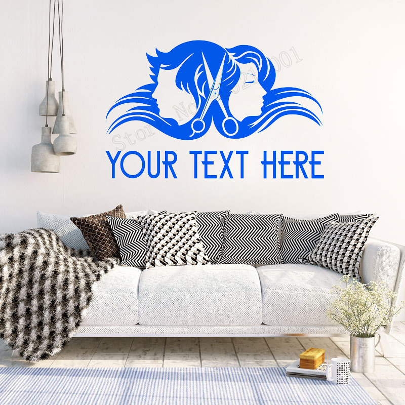 Art Home Sticker Your Text Here Wall Decorative Girls Boys Hair Salon Beauty Salon Room Poster Home Mural Removeable Decel LY31 in Wall Stickers from Home Garden