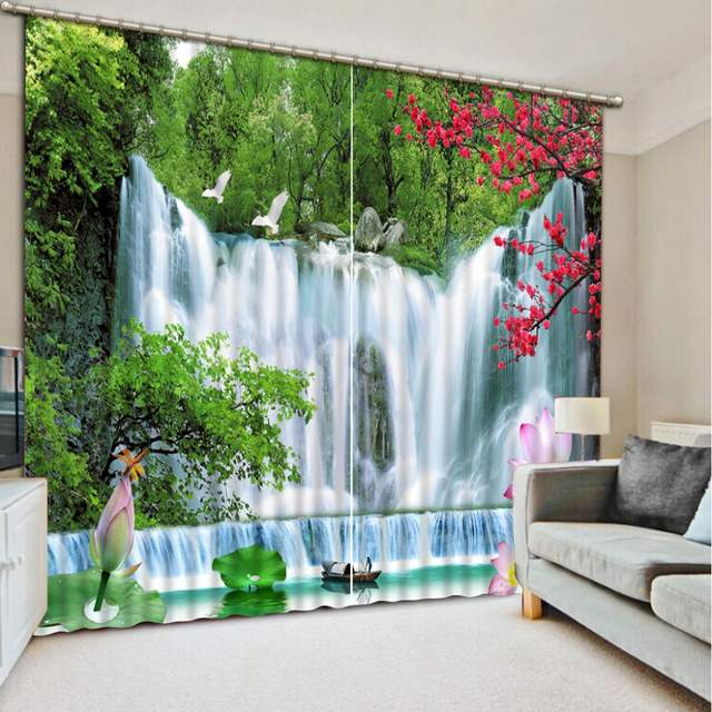 Modern Photo Curtains Waterfall Nature landscape Curtains For Living Room  Bedroom Beautiful Kids Room Curtains Thick Blackout