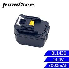 Powtree Новый 14,4 В 3000 мАч для Makita BL1430 Замена Перезаряжаемые литий-ионный LXT200 BL1415 194558-0 194559-8 L10