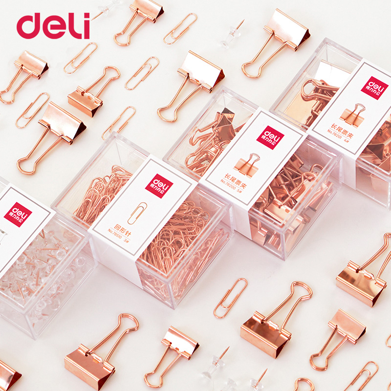 Deli Luxury Binder Clip Set Paper Clip Folder Multi-function Rose Gold Office School Stationery Stainless Steel Ticket Holder
