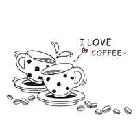 I love coffee wall decal removable cute coffee cup wall sticker Kitchen Restaurant vinyl wall stickers