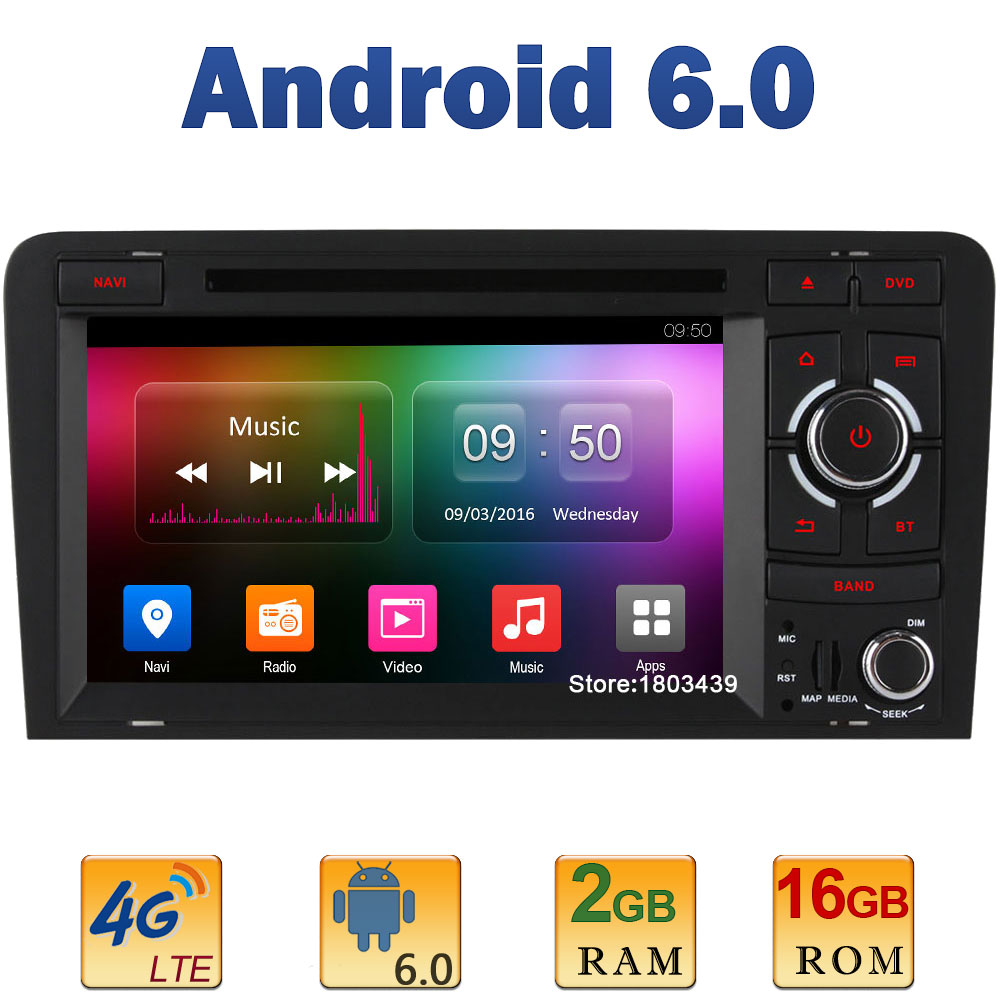 7 Quad Core 2GB RAM 4G LTE SIM WIFI Android 6.0 Car DVD Multimedia Player Radio Stereo For Audi A3 S3 RS3 Mirror Link Navi USB