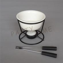 Керамический белый шоколадный плавильный горшок с металлической подставкой для DIY фондю