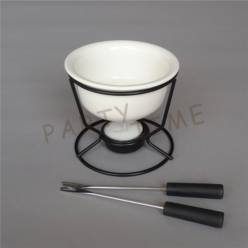 Ceramic white chocolate melting pot with metal stand for DIY fondue