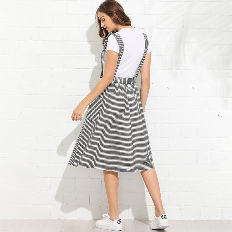 Women Summer Casual Halter Striped Knee length Pocket Dress Lady Casual Party Dress in Dresses from Women 39 s Clothing