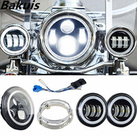"""Motorcycle Set Moto 7 Inch Halo LED Headlight Projector + Adapter Ring + 2X 4 1/2"""" Passing Lamps Halo Ring For Harley