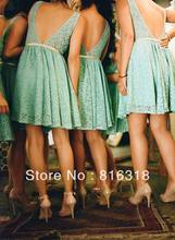2019 New Arrival Country Style Bridesmaid Dresses Open Back Short Lace Dress A Line Teal 2014