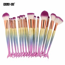 6-15PCS Mermaid Makeup Brushes Set Foundation Blending Powder Eyeshadow Contour Concealer Blush Cosmetic Beauty Make Up Tool Kit
