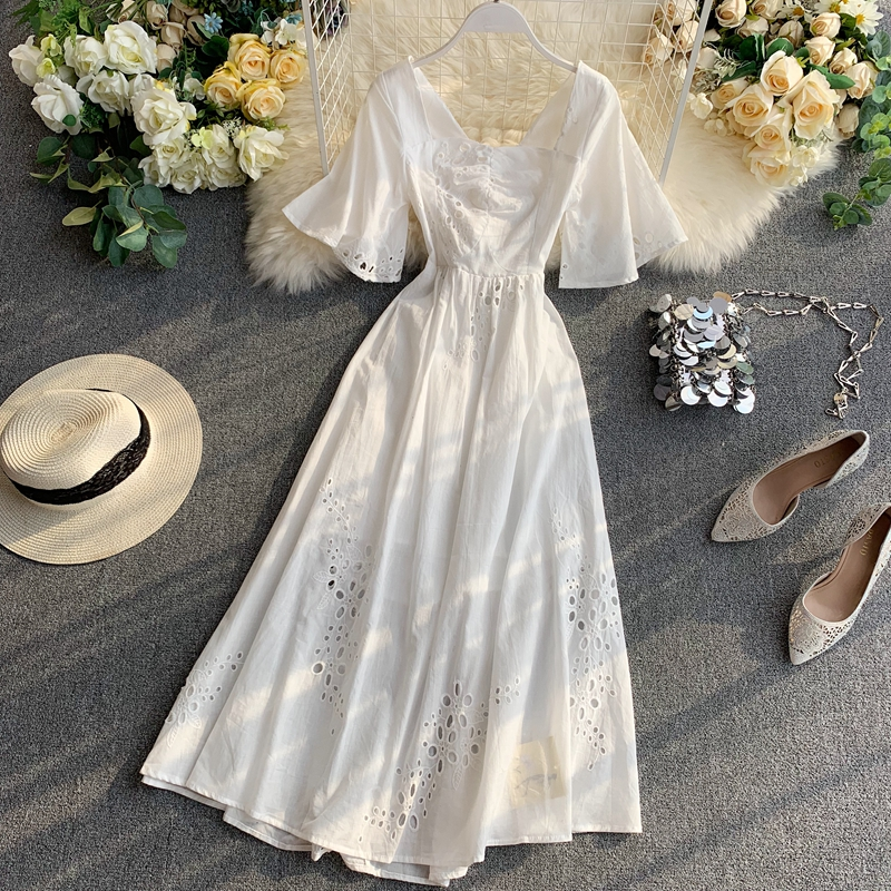 2019 New Fashion Women's Dresses French Dress Popular Temperament Square Collar With Hollow Backless
