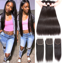 Moxika Peruvian Straight Hair Weave Bundles With Closure Remy Human Hair Bundles With Lace Closure With Baby Hair Pre-Plucked