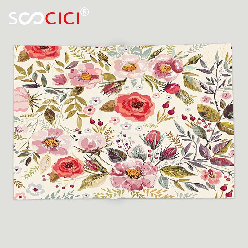 Custom Soft Fleece Throw Blanket Shabby Chic Watercolor Abstract Spring Poppies Flowers Roses Buds Leaves Romantic Print Fleece Throw Blankets Throw Blanketfleece Throw Aliexpress