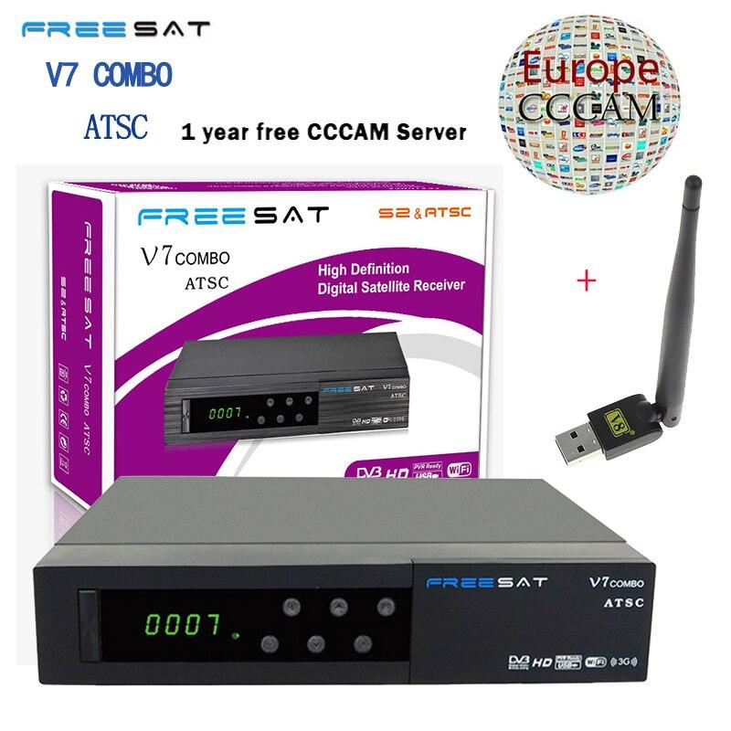 Freesat V7 Combo ATSC Satellite Receiver Full 1080P +1PC USB WiFi DVB-S2 ATSC HD Support Cccam Powervu Youpron Set Top Box Power f3s full hd satellite receiver w vfd display support wi fi black