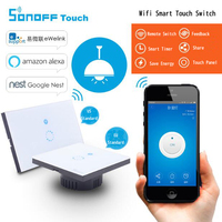New EU Sonoff Touch Luxury Glass Panel Touch LED Light Switch Smat Home Remote Control Wifi