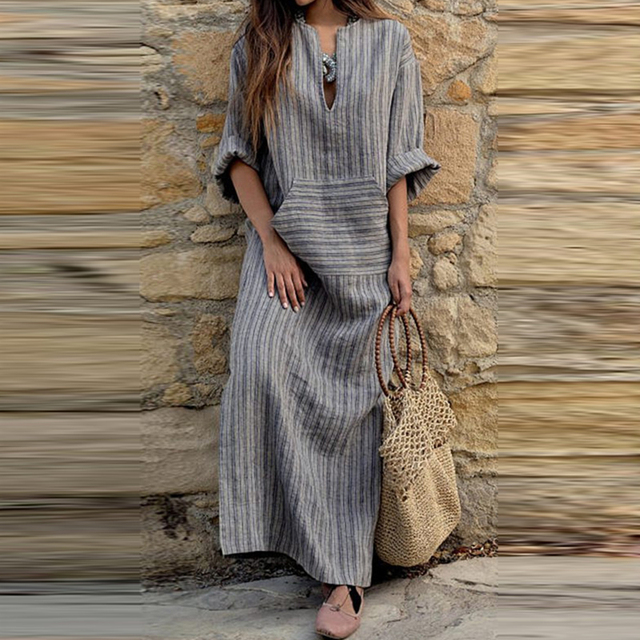 9277b683081 Summer Plus Size Cotton Linen Dress For Women 3xl 4xl 5xl Loose Striped  Long Shirt Dresses Vintage Long Sleeve Boho Maxi Dresses