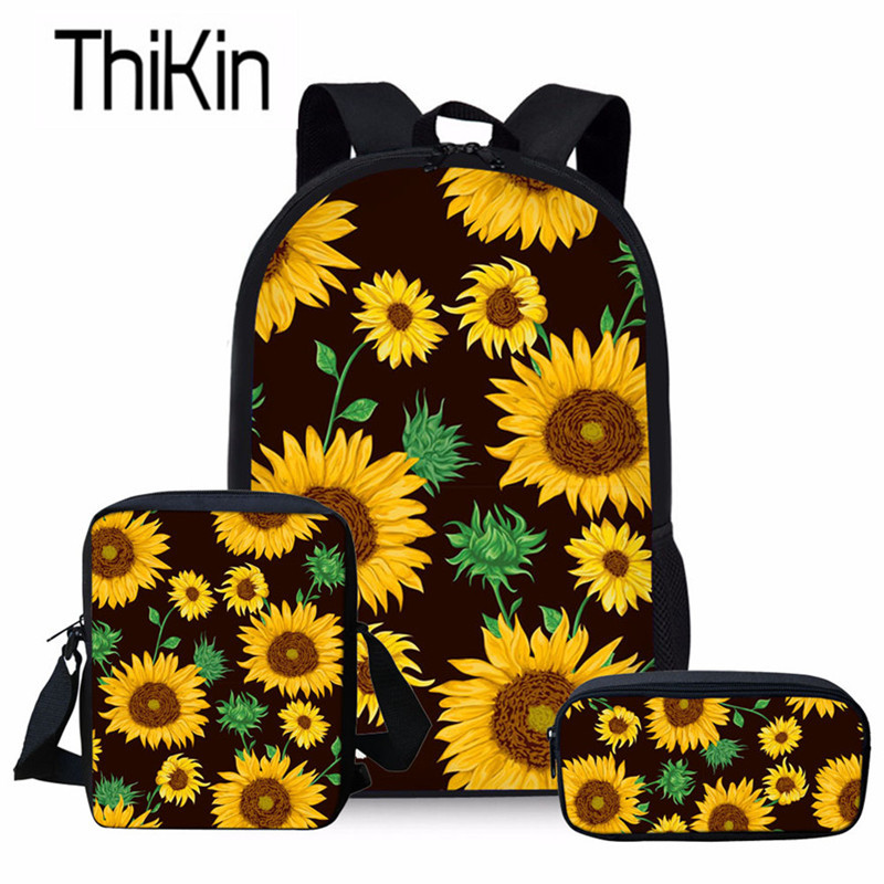 THIKIN Kids School Bags For Sunflowers Printing School Backpack Girls Primary Bookbag Children 3pcs/set School Bag Students Bag