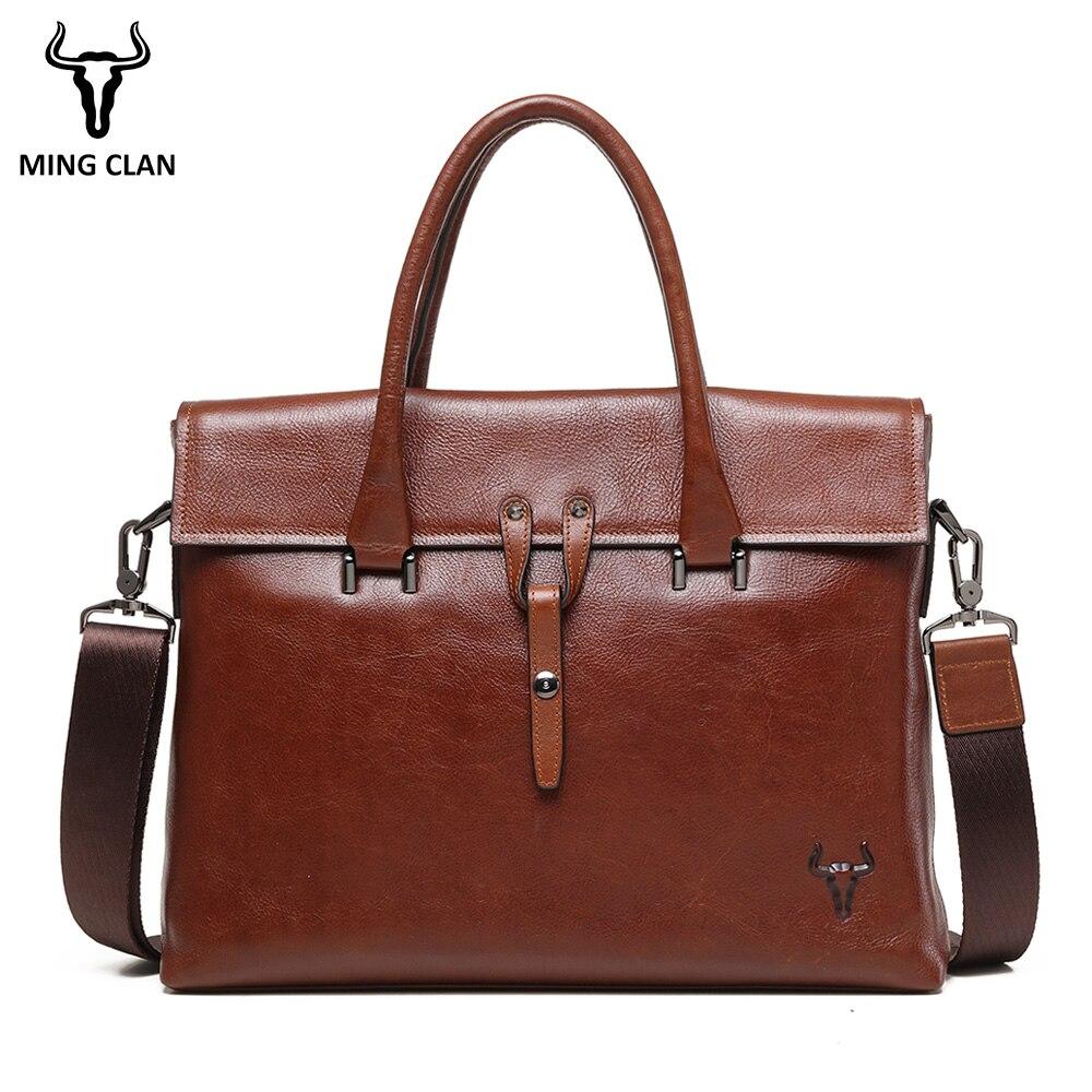 купить Mingclan 2018 Fashion Genuine Leather Men Briefcase Brand Shoulder Bag Messenger Bags Causal Handbag Laptop Briefcase Male по цене 6993.54 рублей