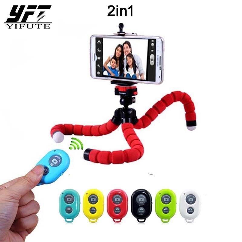YIFUTE nouveau 2in1 sans fil Bluetooth bouton d'obturation à distance voiture support pour téléphone Flexible trépied pieuvre perche à selfies support de support