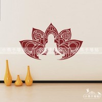 Yoga Vinyl Wall Decal Girl Yoga Pose Buddha Lutos Flower Mural Art Wall Sticker Yoga Class