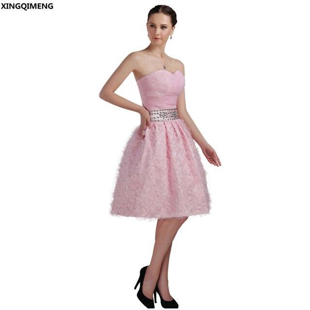 Sexy Trägerlosen Cocktailkleider Elegante Rosa Cocktailkleid Kurze ...