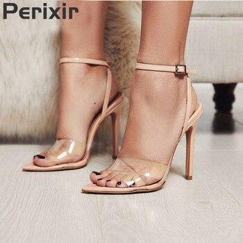 Summer Clear Sandals Women Transparent High Heels PVC Cross Stilettos Ankle Strap Perspex Heeled Western Design Sandal  sandal