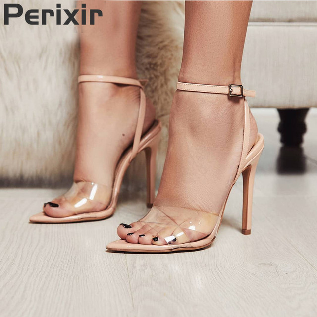 393ca9e9ac3 US $29.02 49% OFF|Perixir Summer Clear Sandals Women Transparent High Heels  PVC Cross Stilettos Ankle Strap Perspex Heeled Western Design Sandal -in ...