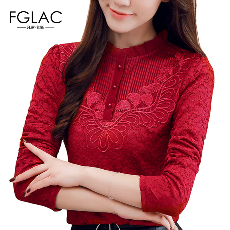 FGLAC 5XL plus size women   blouse     shirt   Fashion long sleeve Autumn winter lace   blouse   Thick velvet women tops 4 color 8 size