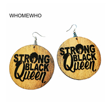 Wood Africa African Traditional Costume Strong Black Queen Punk Earrings Vintage Bohemia Brown Wooden Ear Party Club Jewelries