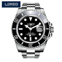 LOREO Sapphire Automatic Mechanical Watch Men silver Stainless metal waterproof  Watch relogio female