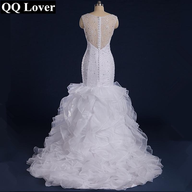 Sleeveless Crystal Beaded Mermaid Wedding Dresses 2