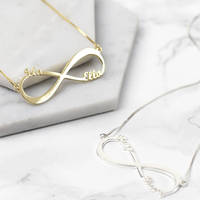 GORGEOUS TALE Any Name Personalized Letters Custom Gold Infinity Design Name Necklace Unisex Modern Fashion Necklace