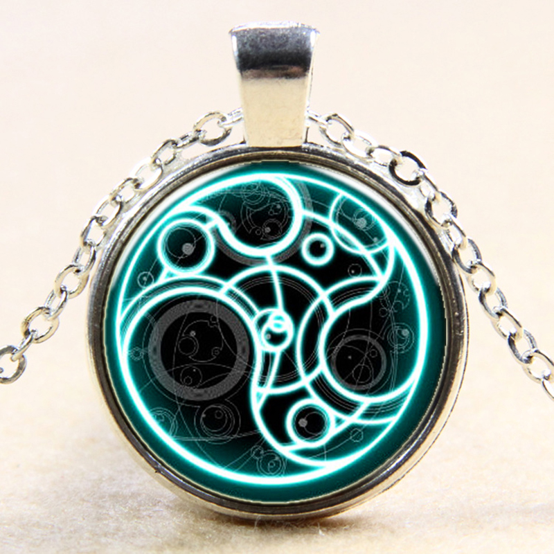 OMENG Steampunk UK drama dr doctor who blue line time lord Necklace 1pcs/lot bronze / silver Glass Pendant jewelry chain XL084